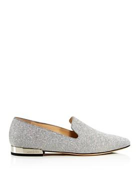 Jimmy Choo - Women's Jaida Square Toe Glitter Leather Loafers