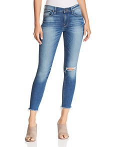 Hudson - Nico Mid Rise Frayed Ankle Skinny Jeans in Amar
