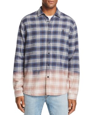 NANA JUDY Nana Judy Dip-Bleached Plaid Regular Fit Shirt in Indigo Plaid