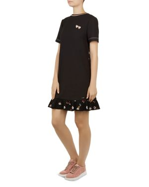 Colour By Numbers Zolba Print-Detail Dress, Black