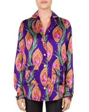 Paisley-Print Silk-Satin Shirt, Purple