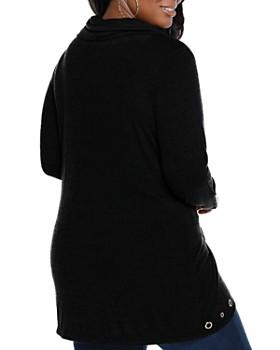 Belldini Plus - Grommet Trimmed Cowl Neck Top