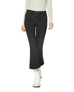 Sanctuary - Connector Kick Crop Flared Jeans in Noir Black