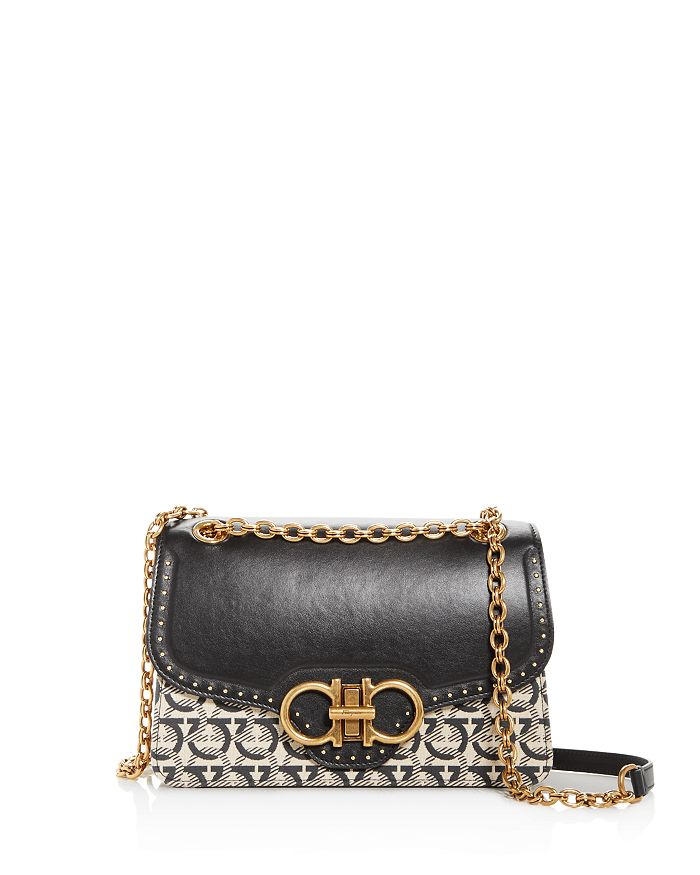 Salvatore Ferragamo - Gancini Jacquard & Leather Shoulder Bag