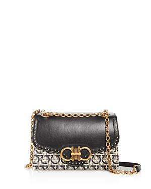 Salvatore Ferragamo Gancini Jacquard & Leather Shoulder Bag