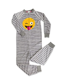 PJ Salvage - Girls' Striped Emoji Pajamas - Big Kid