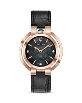 Bulova - Rubaiyat Black Leather Strap Watch, 35mm