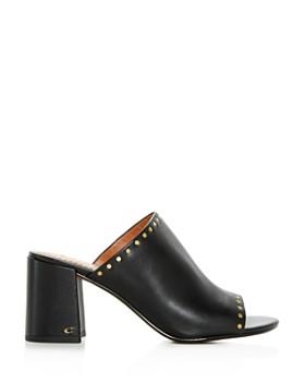 COACH - Women's Alexis Leather Block-Heel Slide Sandals