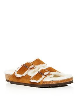 Birkenstock - Men's Arizona Suede & Shearling Slide Sandals
