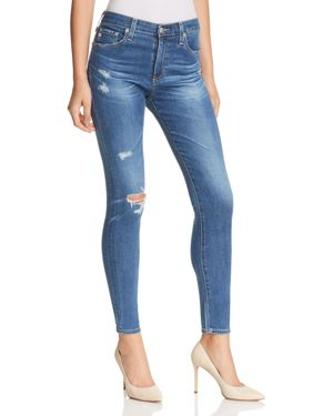 Ag Farrah High Rise Skinny Ankle Jeans in 14 Years Blue Nile Destructed