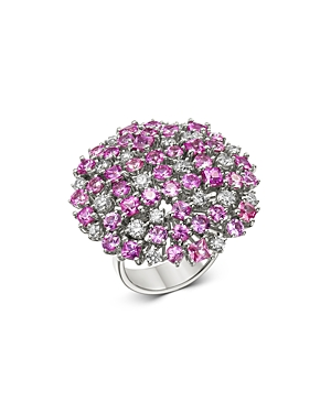 Roberto Coin 18K White Gold Pink Sapphire & Diamond Cluster Cocktail Ring