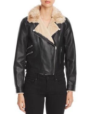 VERO MODA Faux Leather Cropped Moto Jacket in Black