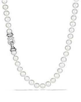 """David Yurman - Sterling Silver Pearl Station Necklace with Diamonds, 36"""""""