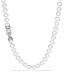 David Yurman - Sterling Silver Pearl Station Necklace with Diamonds, 36""