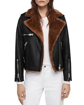 ALLSAINTS - Higgens Faux Fur-Lined Leather Biker Jacket