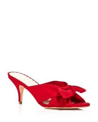 red kitten heel sandals