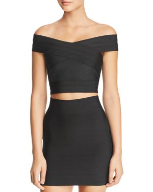WOW COUTURE Elle Off-The-Shoulder Cropped Bandage Top in Black