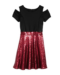 US Angels - Girls' Cold-Shoulder Contrast Sequin Dress - Big Kid