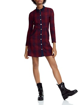 Maje - Renitia Tweed Mini Shirt Dress