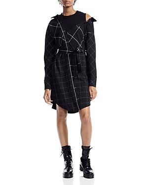 Maje RAZAK DECONSTRUCTED CHECKED COLD-SHOULDER SHIRT DRESS