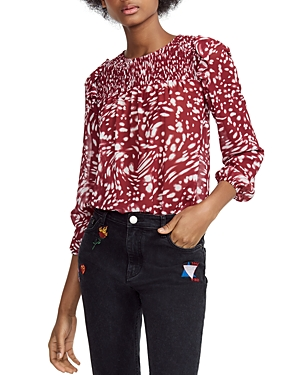 Maje Lipone Smocked Swirling Print Top