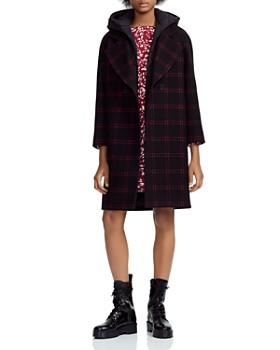 Maje - Gloz Plaid Down-Hood Coat