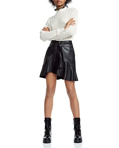 Maje - Janaki Leather Wrap Skirt