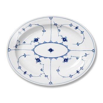 "Royal Copenhagen - ""Blue Fluted Plain"" Oval Platter, 14.25"""