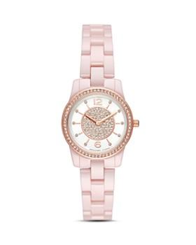 Michael Kors - Petite Runway Embellished Pink Watch, 28mm