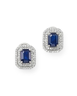 Bloomingdale's - Blue Sapphire & Diamond Double Halo Earrings in 14K White Gold - 100% Exclusive