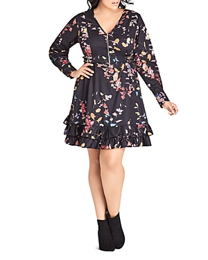 City Chic Plus Sensai Floral Zip-Front Dress