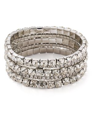 Aqua Crystal Stretch Bracelets, Set of 5 - 100% Exclusive