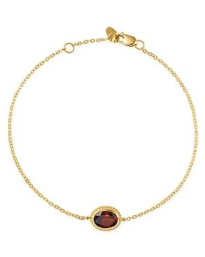 Garnet Oval Bracelet in 14K Yellow Gold