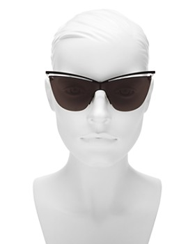 71fa12e11d ... 99mm Saint Laurent - Women s Brow Bar Cat Eye Shield Sunglasses
