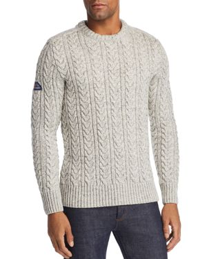 SUPERDRY Jacob Tweed Cable-Knit Sweater in Concrete Twist