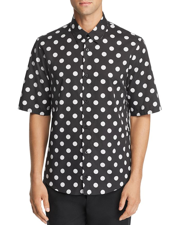 Versus Versace - Short-Sleeve Logo-Print Polka Dot Regular Fit Shirt
