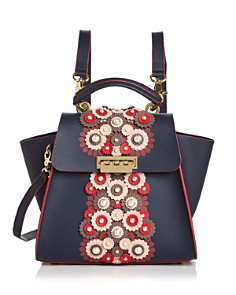 ZAC Zac Posen - Eartha Floral Leather Applique Convertible Backpack