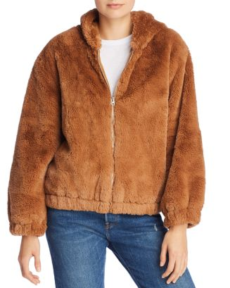 a003c70be FRENCH CONNECTION Arabella Faux-Fur Hooded Bomber Jacket ...