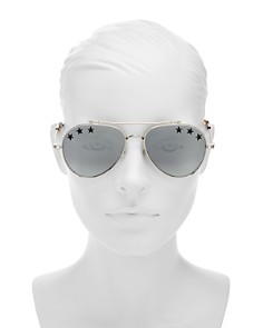 Givenchy - Women's Embellished Mirrored Brow Bar Aviator Sunglasses, 58mm