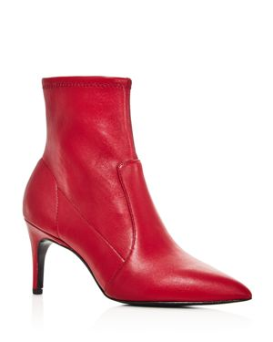 Women'S Pride Pointed Toe Booties, Scarlet Leather