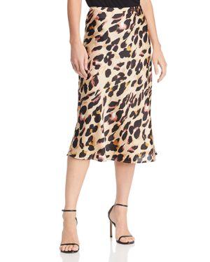 COTTON CANDY LA Leopard Print Midi Skirt in Tan