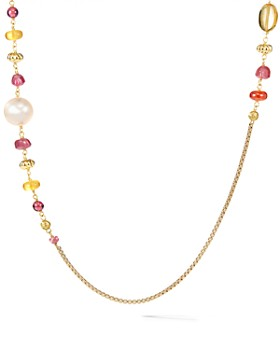 David Yurman - Bijoux Bead & Chain Necklace in 18K Yellow Gold with Peach Cultured Pearls