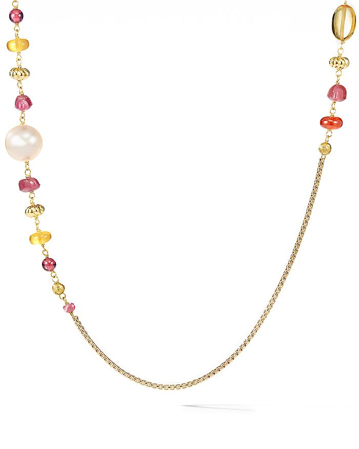 David Yurman BIJOUX BEAD & CHAIN NECKLACE IN 18K YELLOW GOLD WITH PEACH CULTURED PEARLS