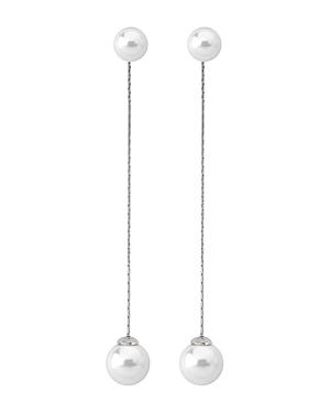 Majorica Simulated Cultured Pearl Long Drop Earrings in Sterling Silver