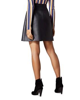 KAREN MILLEN - Faux Leather Zip-Front Mini Skirt
