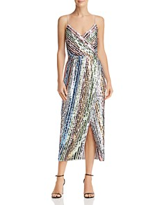 Saylor - Sequined Rainbow-Stripe Dress