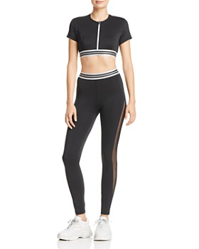 8689d851f96 Kendall + Kylie - Kendall + Kylie Zip-Front Cropped Top   Mesh-Inset