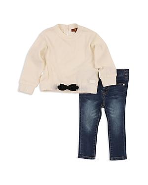 7 For All Mankind Girls Bow Sweatshirt  Skinny Jeans Set  Little Kid