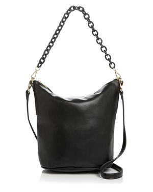 STREET LEVEL Leather Hobo With Chain Handle in Black