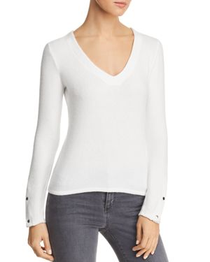 RED HAUTE V-Neck Snap-Sleeve Sweater in Natural